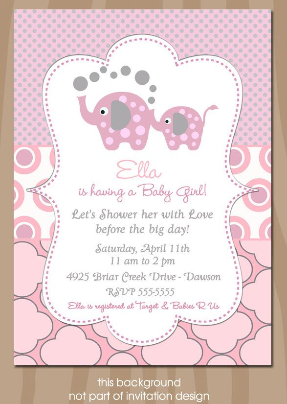 Elephant Baby Shower Invitation Elephant Showers PINK and Gray