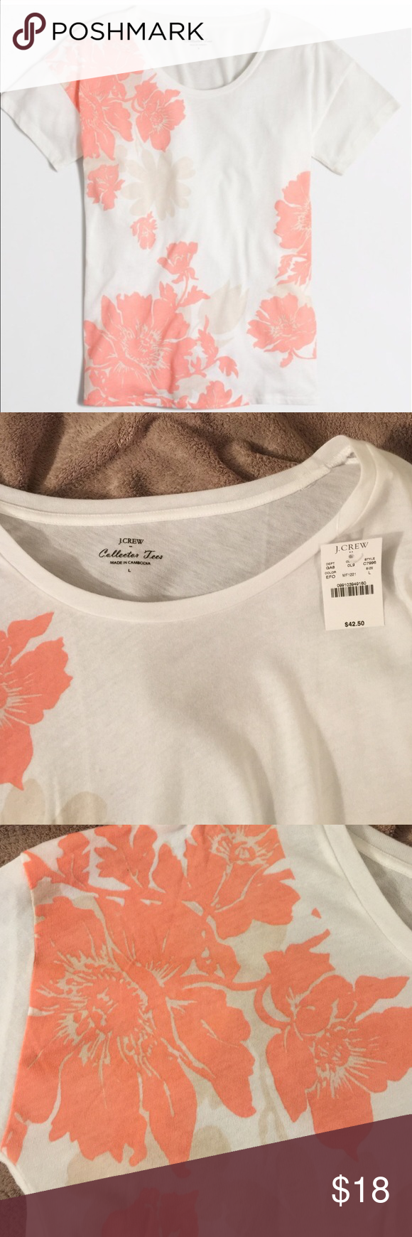 J. Crew Collector Tee NWT. Light weight, 60% cotton and 40% polyester.   Lovely top, just much too large for me. J. Crew Tops Tees - Short Sleeve
