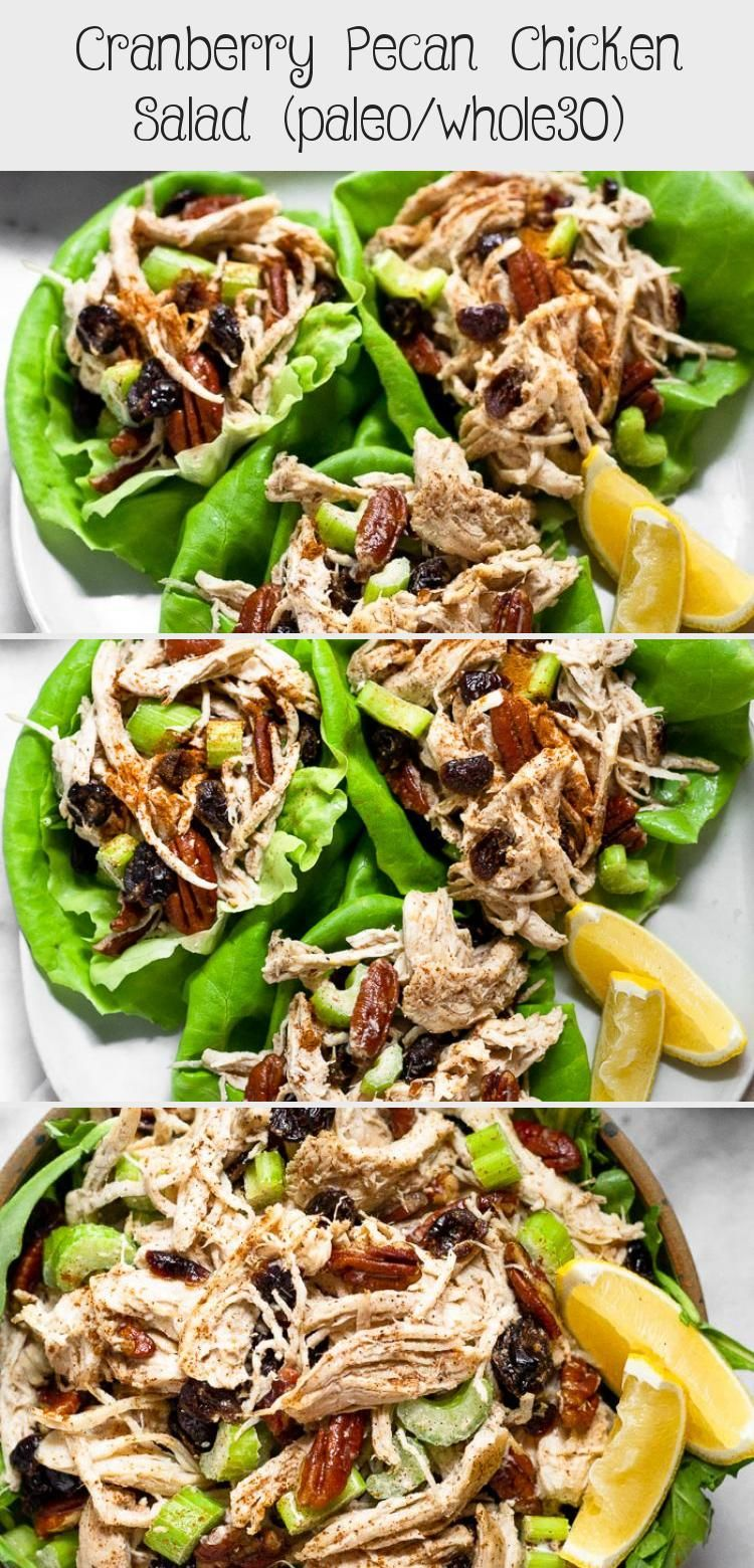 Seven ingredients and 5 minutes is all you need to throw together this cranberry pecan chicken salad. It makes the perfect quick, easy, and healthy meal for this busy time of year. It's paleo and Whole30 approved too! - Eat the Gains #paleo #whole30 #chickensalad #glutenfree #harvestsalad #FoodandDrinkSalad