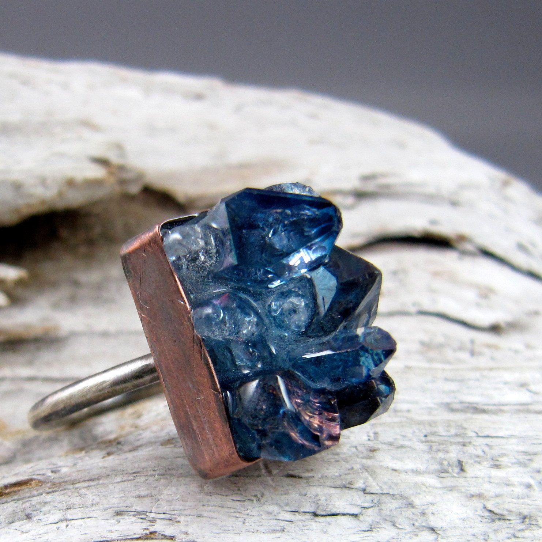 Tanzine Quartz, Copper and Silver Ring