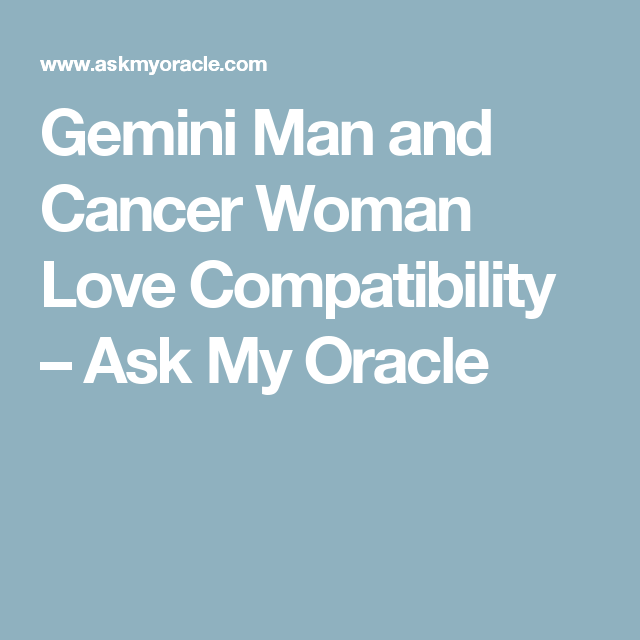 gemini male and cancer female relationship psychology