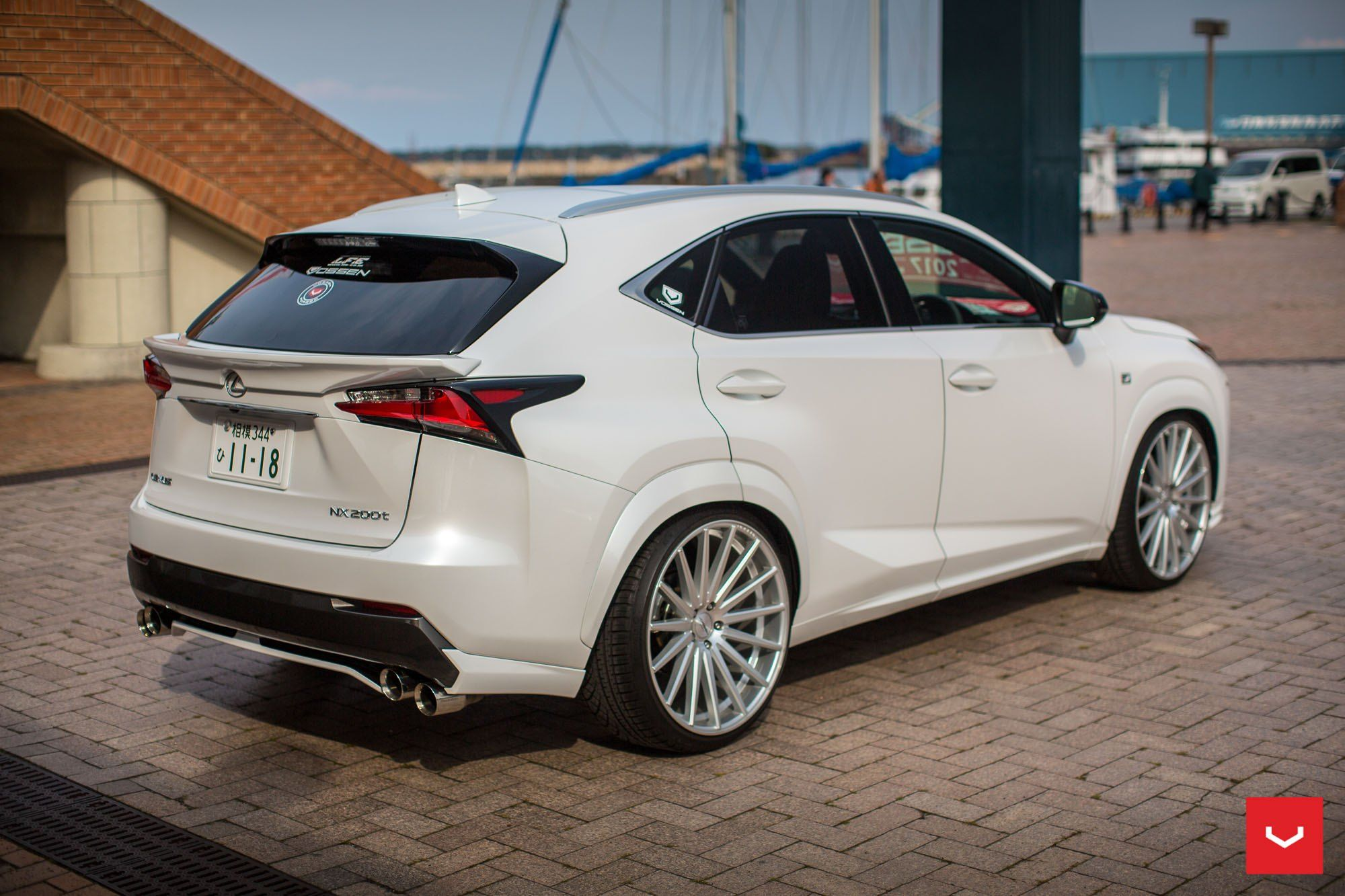 Classy Pearl White Lexus Nx With Lowered Suspension And Vossen Rims White Lexus Vossen Lexus