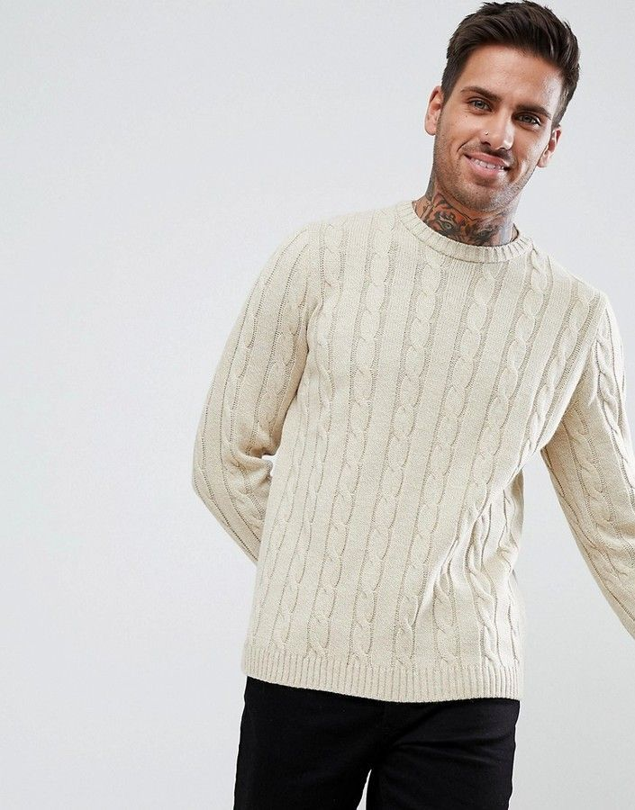 Asos Cable Knit Sweater In Oatmeal in 2019 | Sweaters, Cable