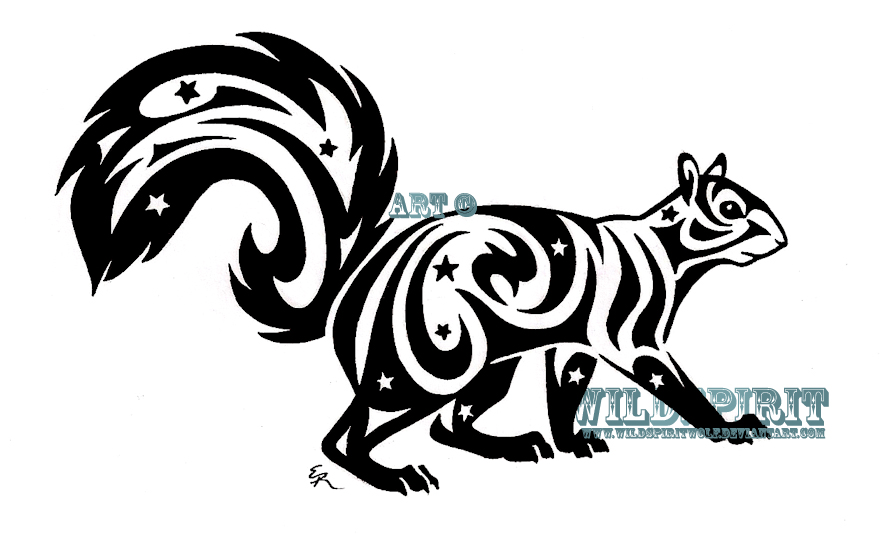 Starry Tribal Squirrel Tattoo By Wildspiritwolf On Deviantart Squirrel Tattoo Tribal Tattoos Tribal