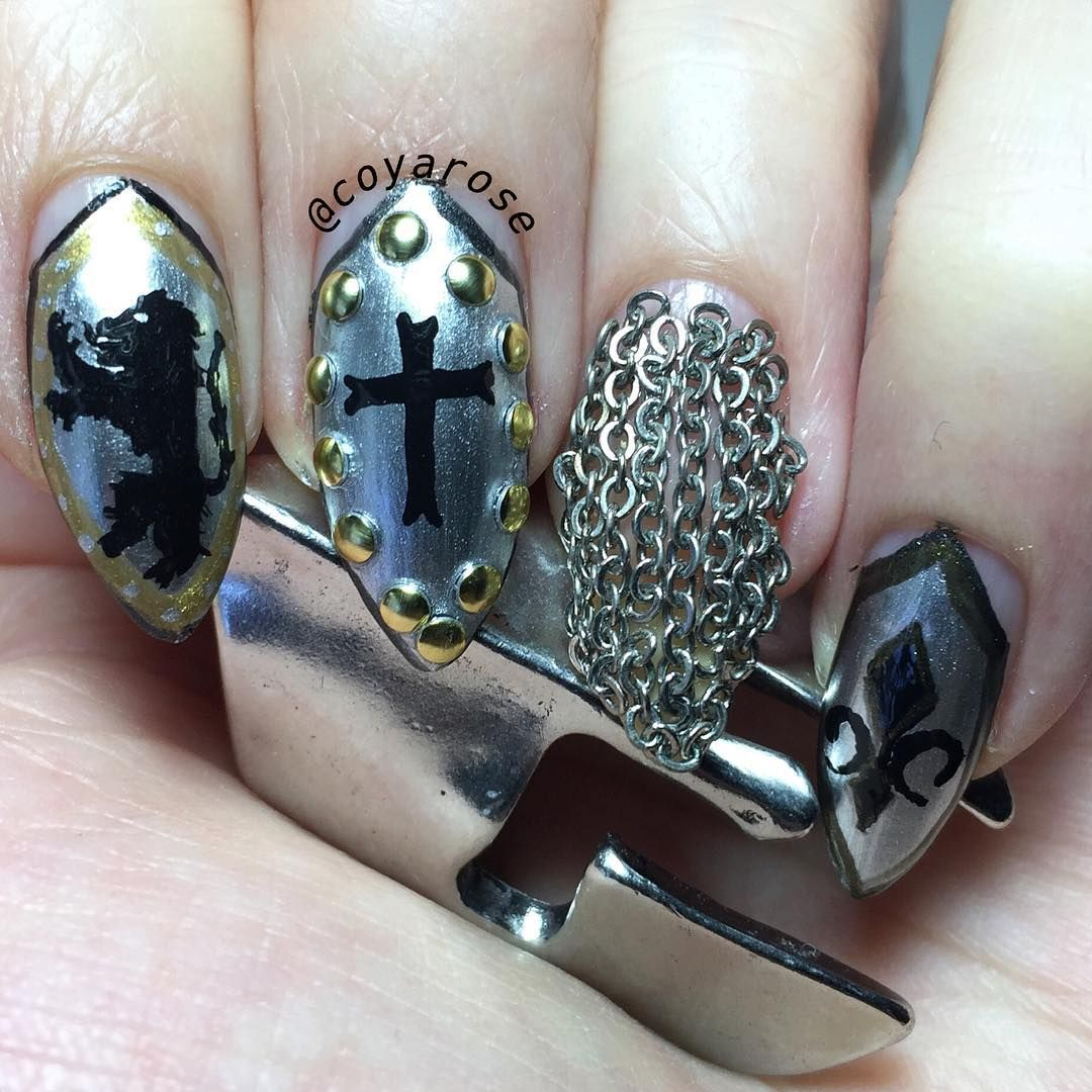 Medieval, armor, chainmail nail art. Free hand, acrylic paint | Nail ...
