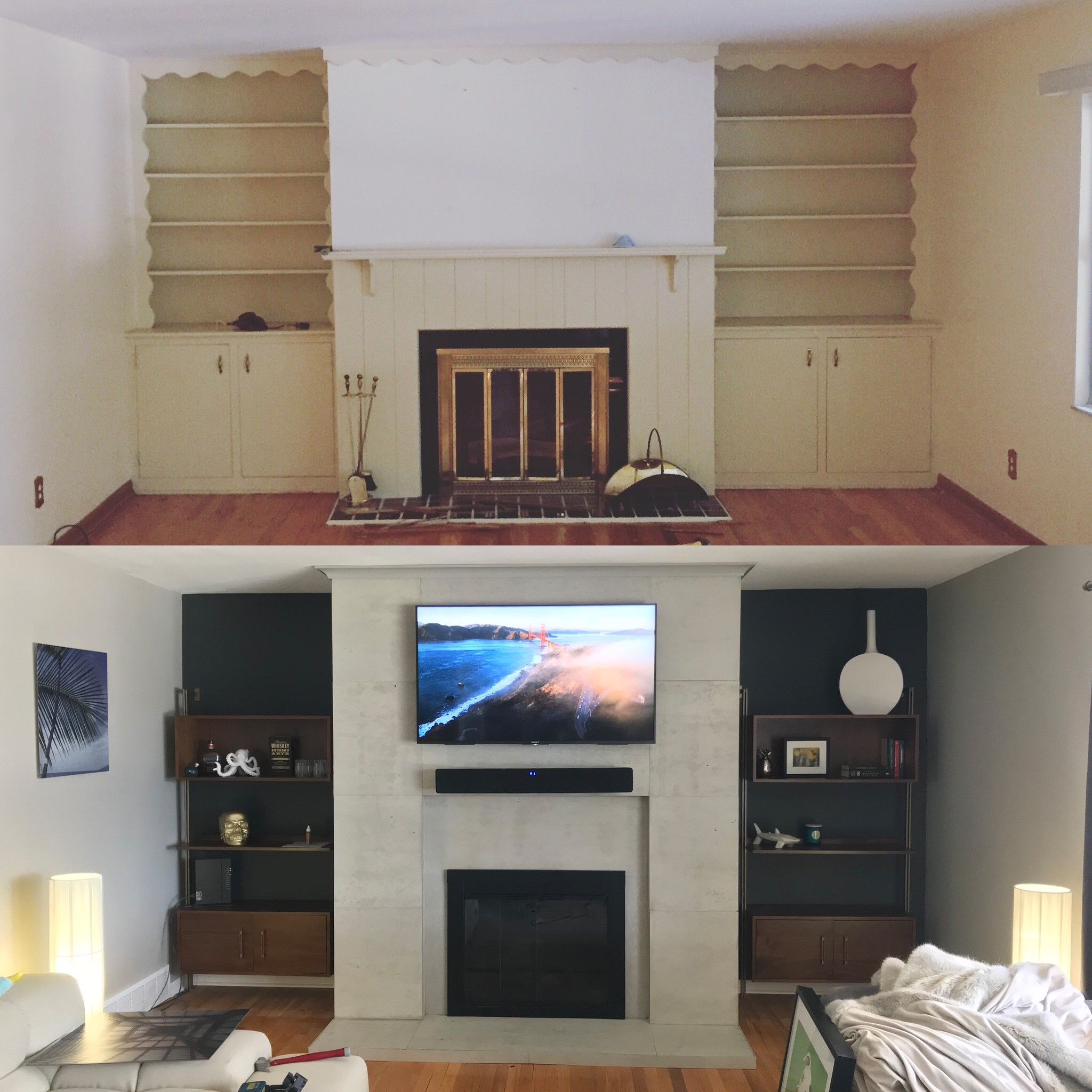 Painting Accent Wall Around Fireplace Dated: This Dated Fireplace And Built In Were Fancied Up With