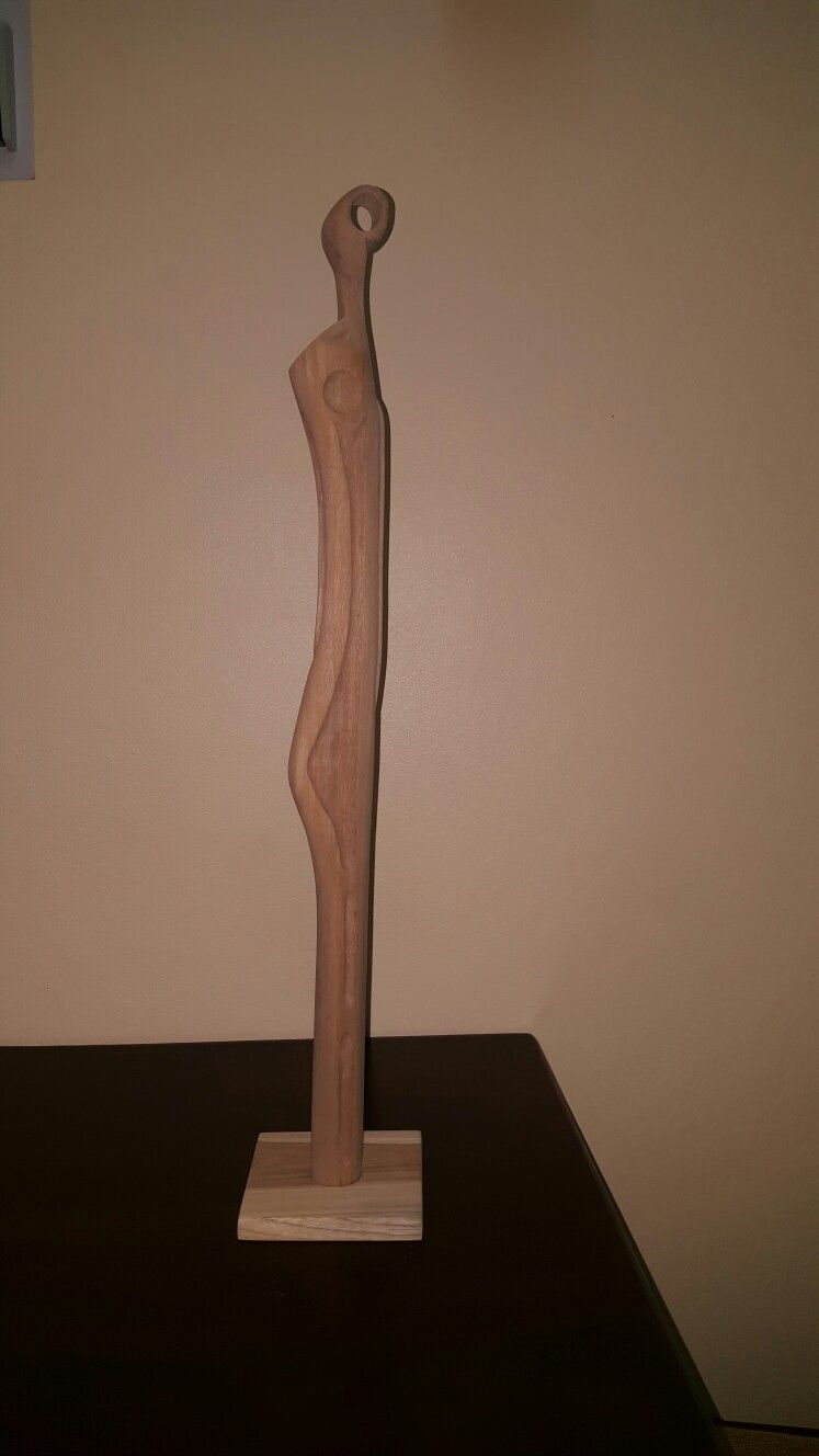 Modern abstract wood carving cedar by Jason Telemaque