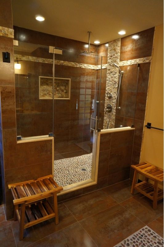 Beautiful Bathroom Design with Large Unique Walk In Shower ...