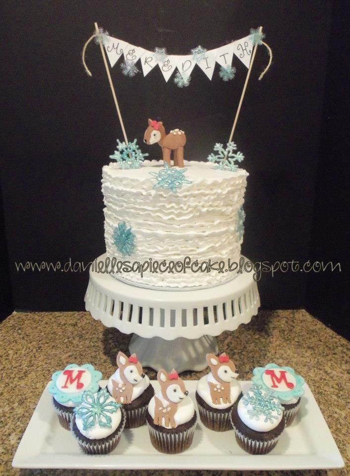 Winter Deer Birthday Cake And Cupcakes My Cakes Pinterest