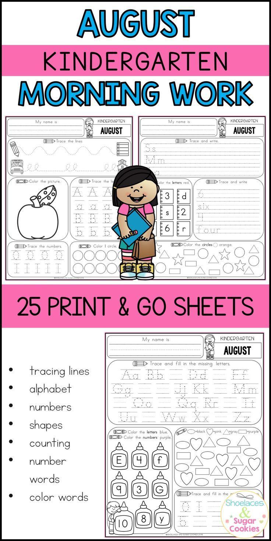 Kindergarten Morning Work - August | Pinterest | Morning work ...