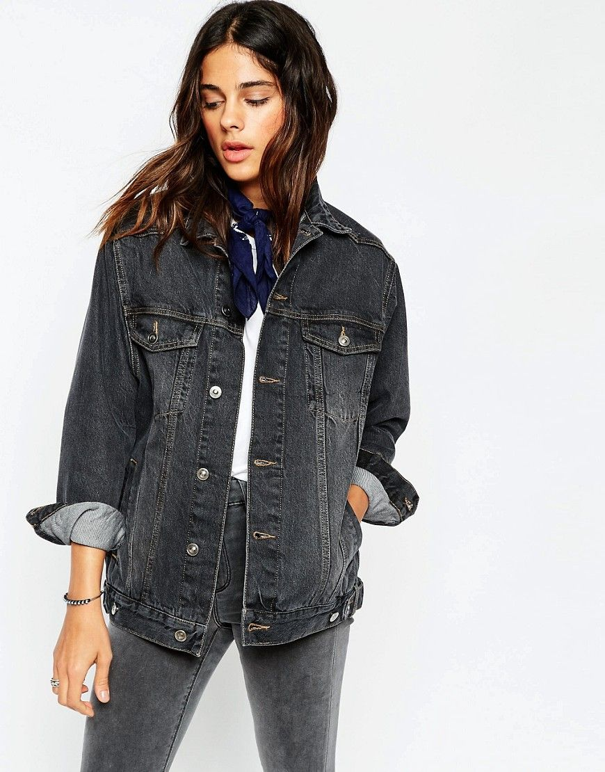 Veste en jean noir pour femme