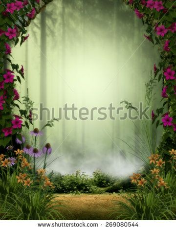 3d illustration of a fairy or elven background.  Featuring a misty forest framed by a stone gate and flowers.  Ready for your photo-manipulations or 3D renders.  - stock photo
