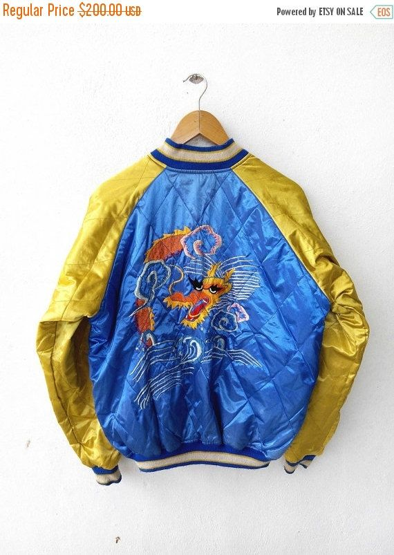SUKAJAN Japanese Tokyo Eagles Dragon Guam Vintage 80s Varsity Jacket Embroidery Souvenir Zipper Satin Reversible Gold Blue Jacket  Tag reads: