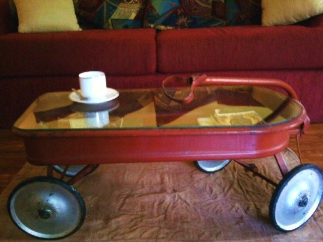 An Old Wagon That I Recycled Into A Coffee Table Red Wagon