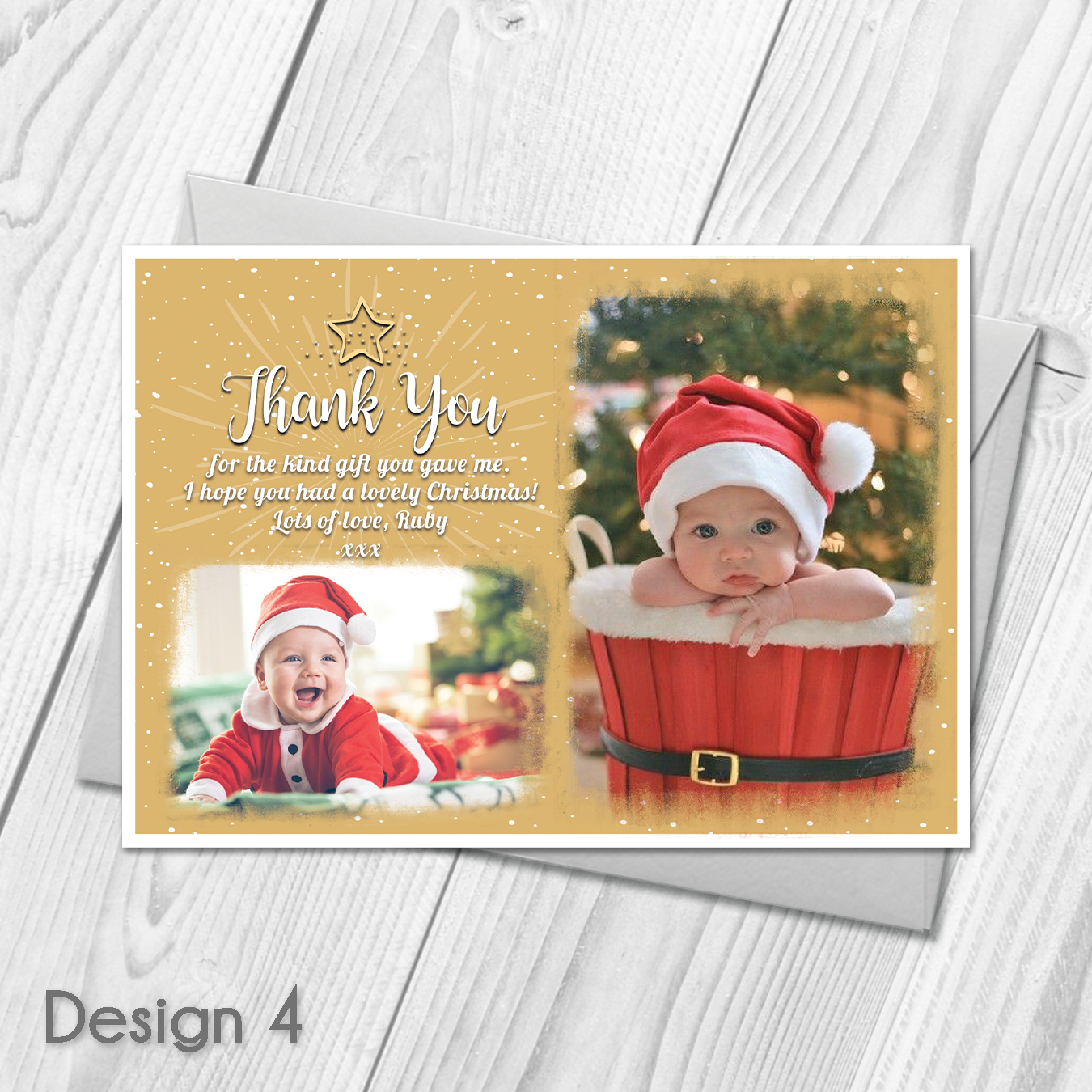 Personalised Christmas Thank You Cards Notes With Photo  Xmas