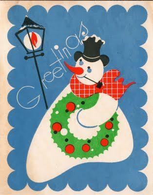 vintage amoeboid snowman