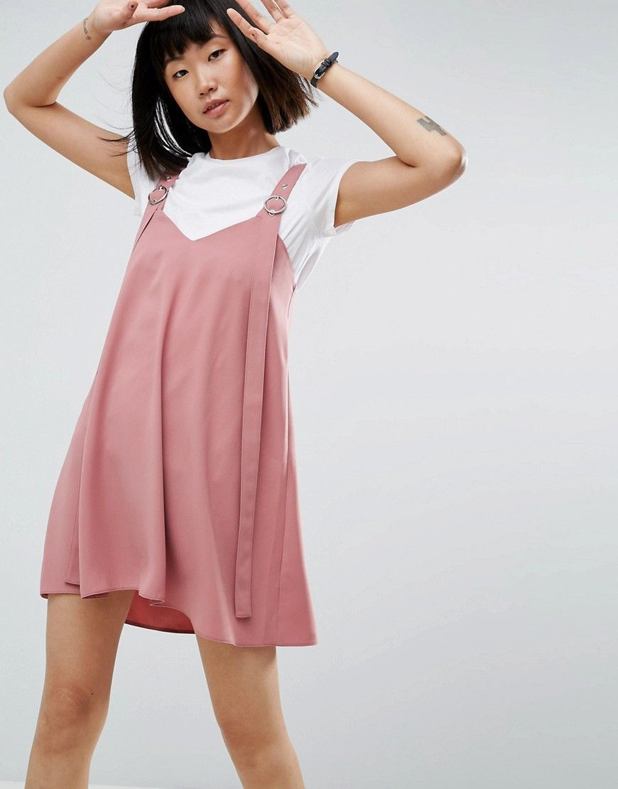 ASOS Buckle Detail Mini Slip Dress - Pink | Products | Pinterest ...