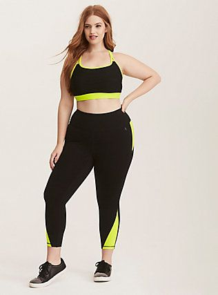 eed20eaca39ff0 Torrid Active - Colorblock Mesh Inset Cropped Leggings, BLACK ...