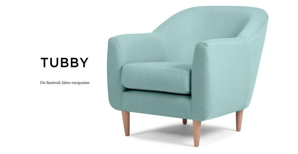 Tubby un fauteuil bleu turquoise
