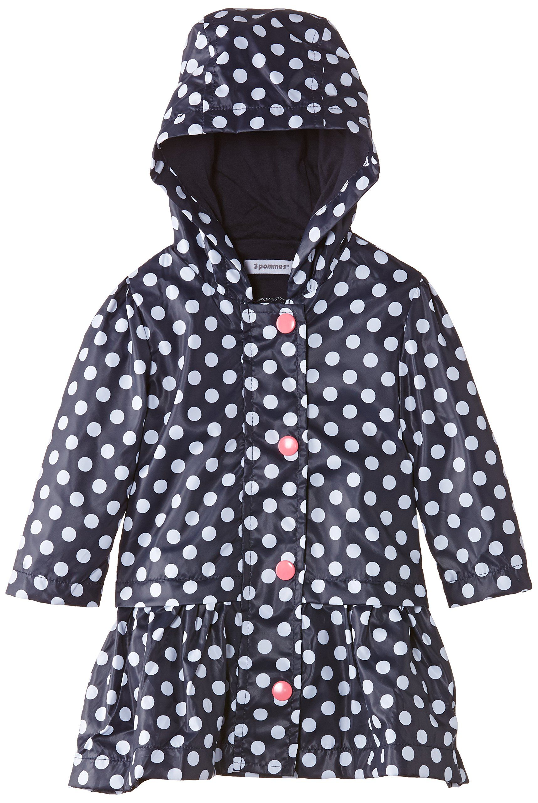 aea2bd0f 3Pommes Baby-Girls Parka Capuche Polka Dot Waterproof Jacket, Navy Blue,  18-24 months (Manufacturer Size:2 Years)