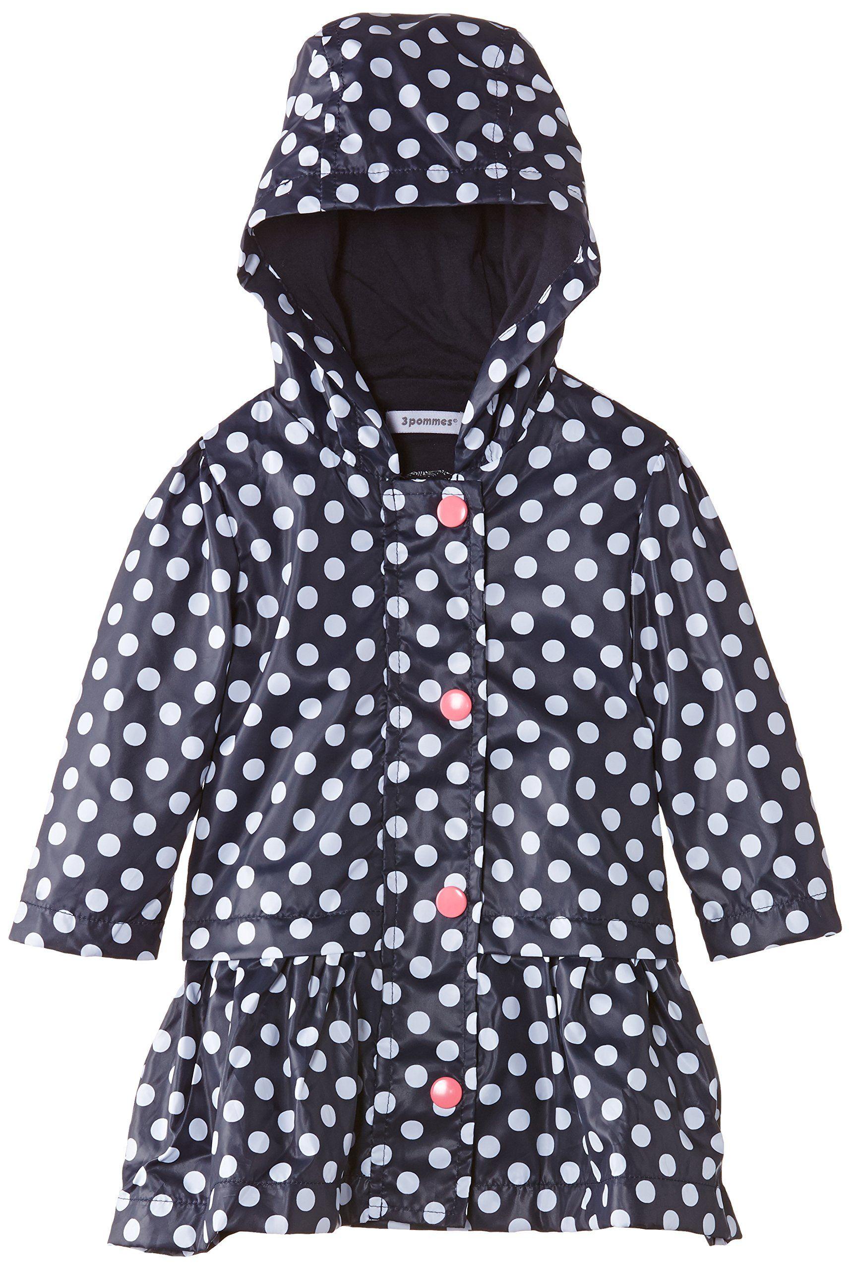 937c24bed98e 3Pommes Baby-Girls Parka Capuche Polka Dot Waterproof Jacket