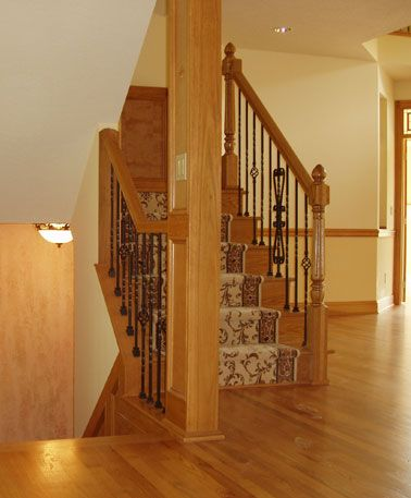Best Red Oak Stairs Open Returned End Treads Iron Spindles By 400 x 300