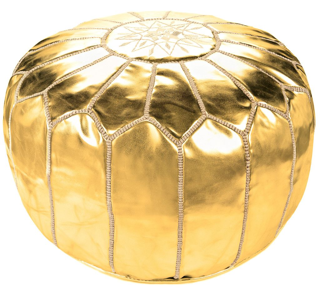 Gold Moroccan Leather Pouf