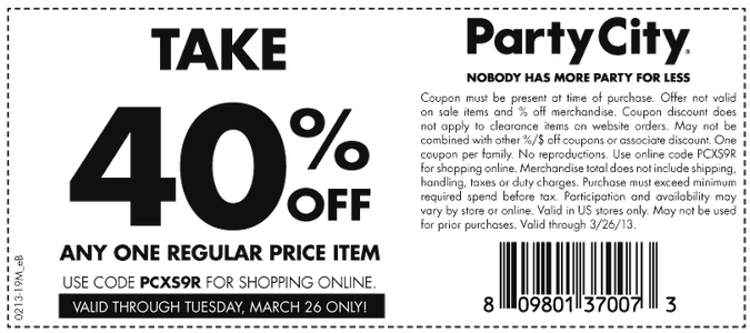 Party City Deal Party City Free Printable Coupons Printable Coupons