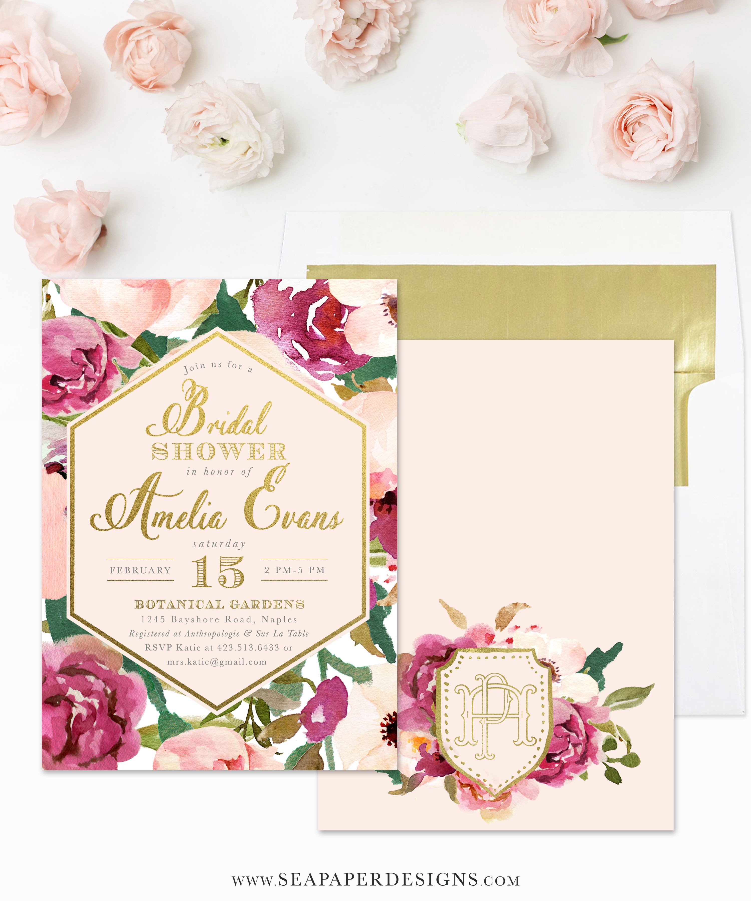 the amelia bridal shower invitation features pretty burgundy and blush pink watercolor flowers with gold accents and a gorgeous monogram on the back