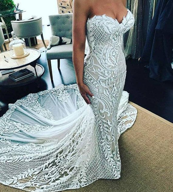 SALE 70% OFF Mermaid wedding dress, sexy lace, ivory wedding gown with train, corset wedding dress, sheath see through corset lacing gown 1