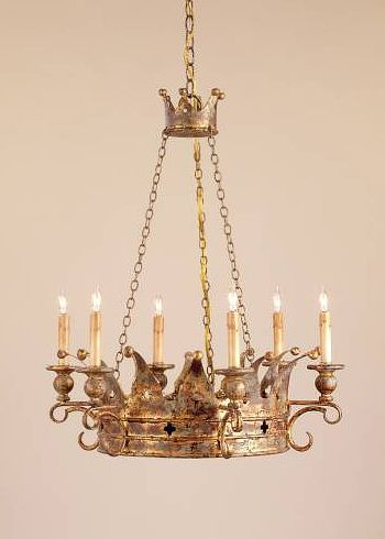 Currey And Company Crown Chandelier Gold Candles Lighting