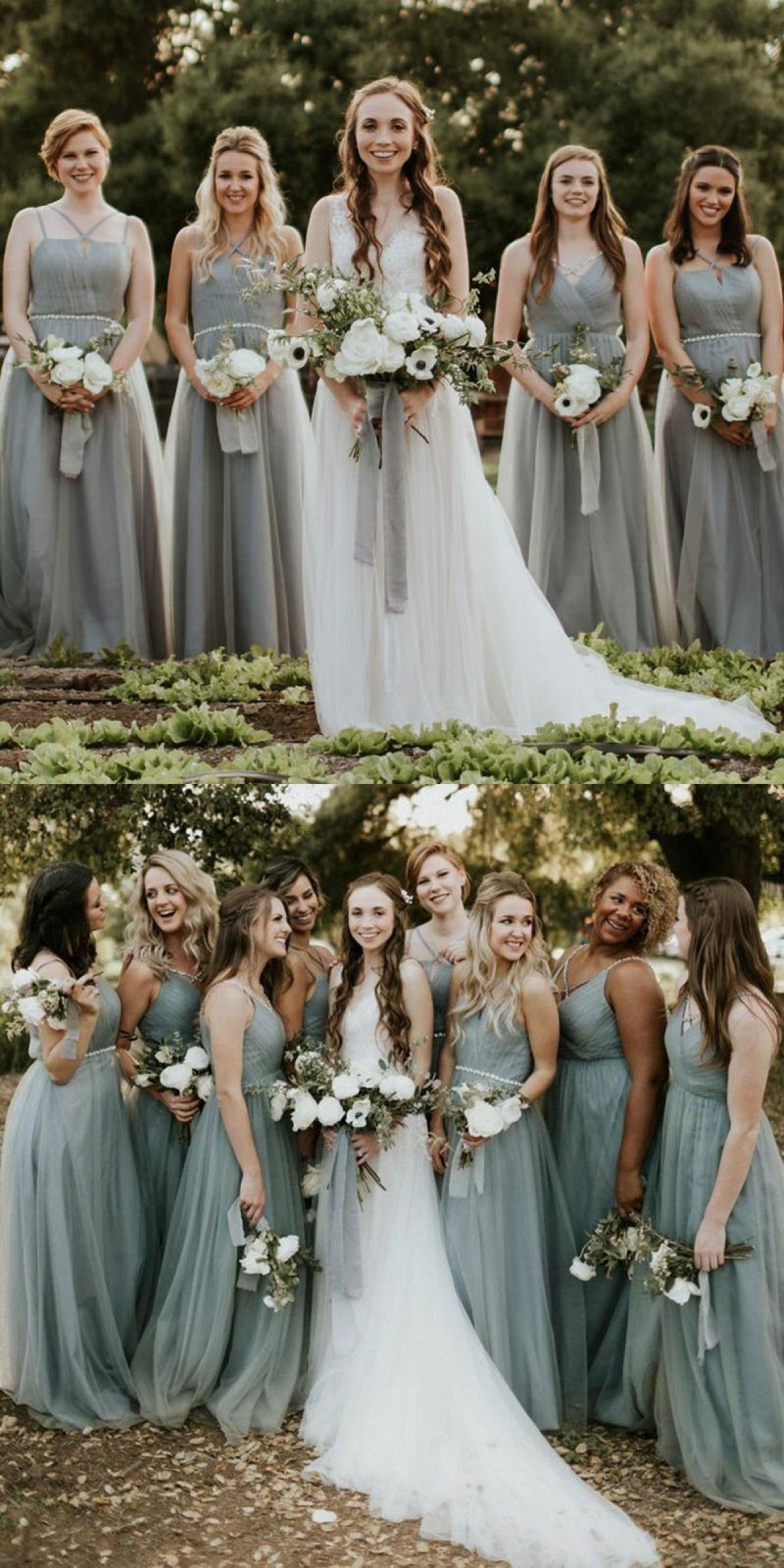 Spaghetti Straps Bridesmaid Dresses Long Country Light Dusty Blue