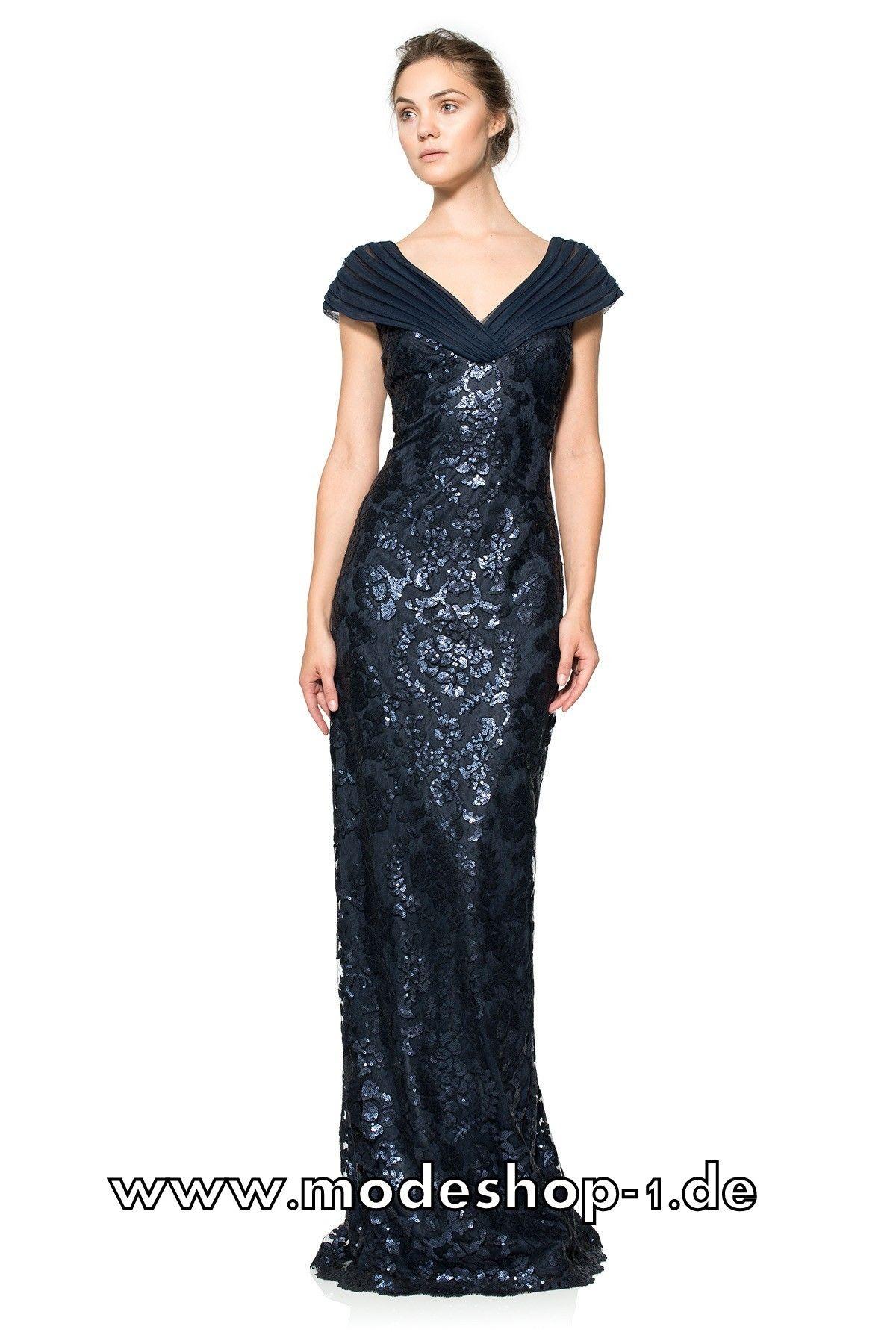 Opern Kleid Abendmode in Marine Blau mi V Dekollette | Kleider ...