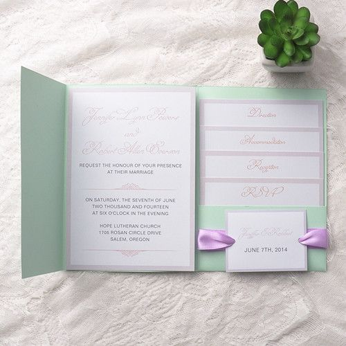Mint Invitations Wedding: Cheap Simple Mint Green Pocket Lavender Ribbon Wedding