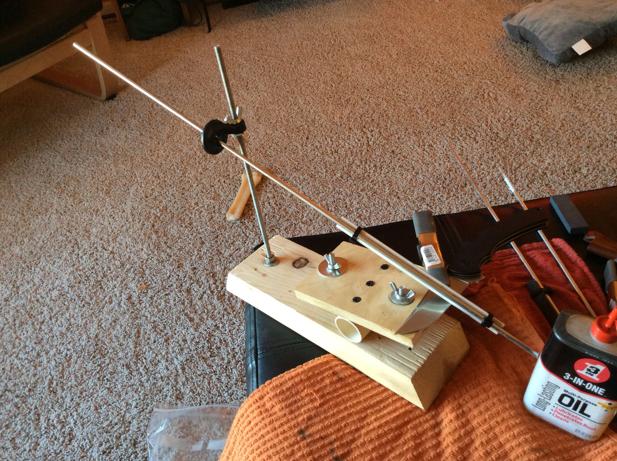 Diy knife sharpening jig made from spare wood existing