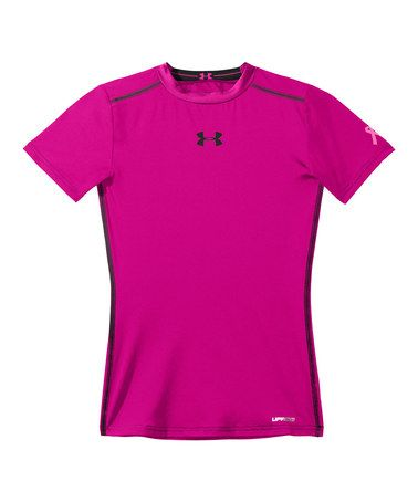 5540c23733400 Take a look at this Tropic Pink HeatGear® Sonic Fitted Top - Girls ...