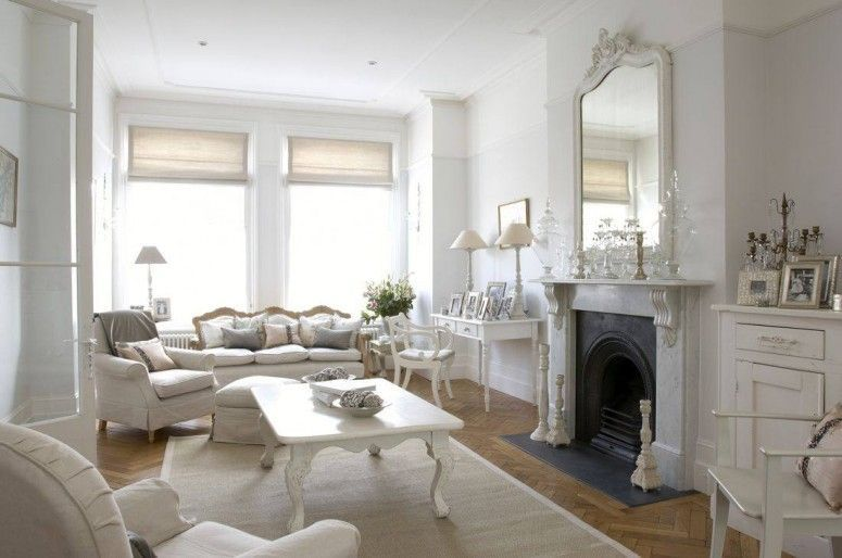 Mesmerizing Shabby Chic Living Room In Beautiful White And Clean Design With Good Looking