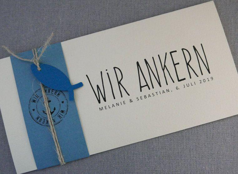 Maritime Hochzeitskarte WIR ANKERN | Wedding / Hochzeit in ...