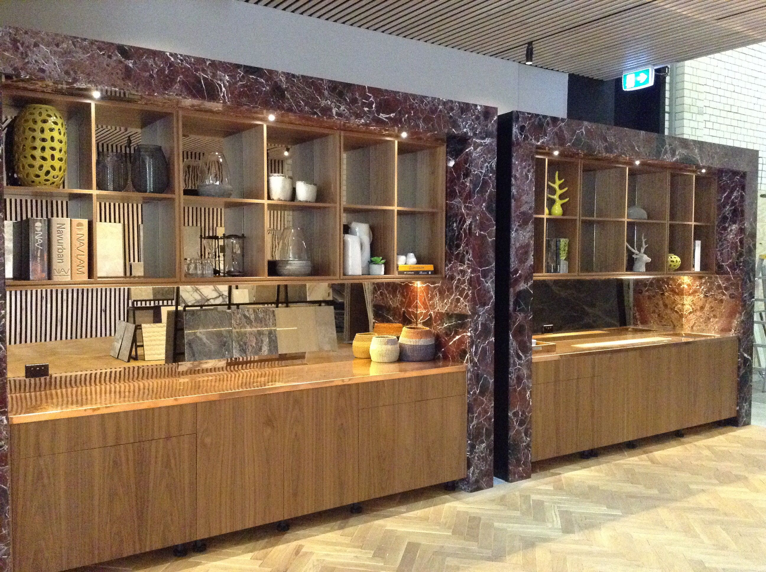 Showroom Euro Natural Stone kitchen with Rosso Levanto marble | Euro ...