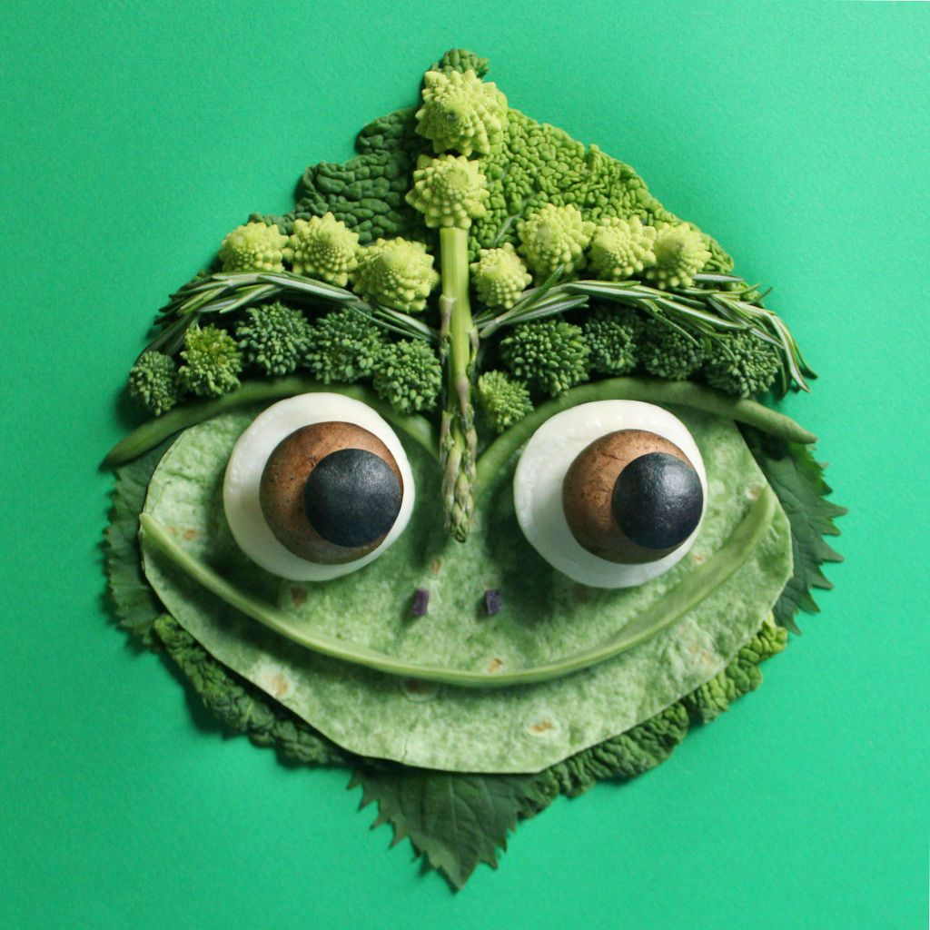 – green tortilla – shiso leaves – kale – romano bean (mouth) – baby purple potatoes (eyes, nostrils) – baby cippolini onions (eyes) – crimini mushrooms (eyes) – asparagus – savoy cabbage – broccoli rabe – rosemary – romanesco – green beans
