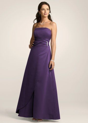 b1cb33a623d David s Bridal Bridesmaid Dresses Satin Gown with Side Drape   Brooch Style  8567