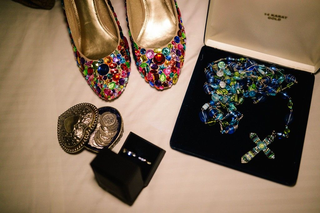 Colorful mexican wedding shoes lasso arras rings wedding