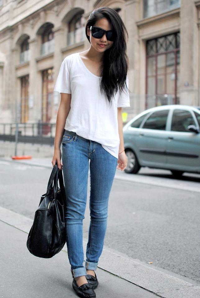 Shop this look on Kaleidoscope (shirt, jeans, shoes, satchel, sunglasses)  http://kalei.do/WKtFojGhx2qJksY7