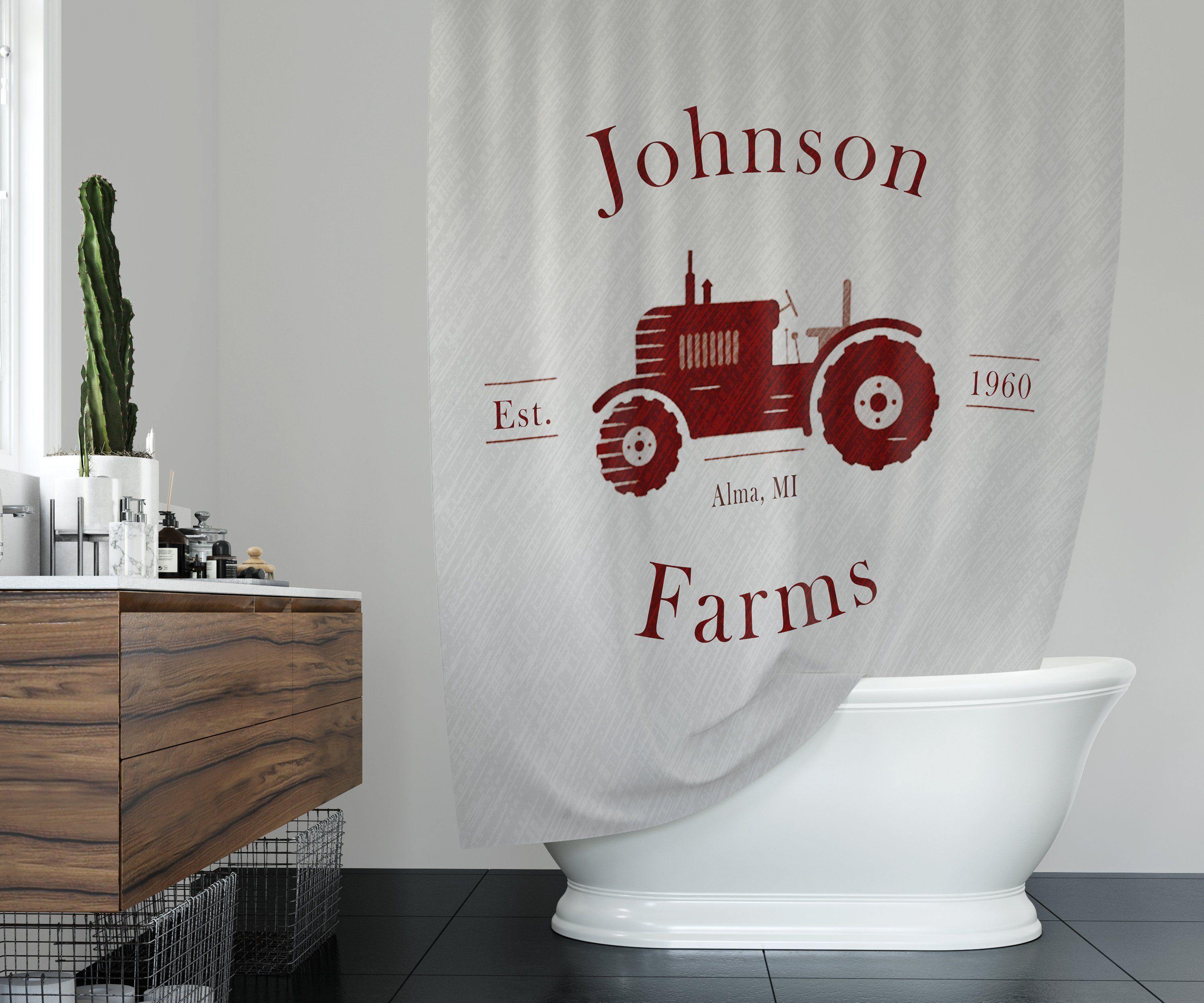 Farmhouse Shower Curtain Personalized Rustic Red Tractor