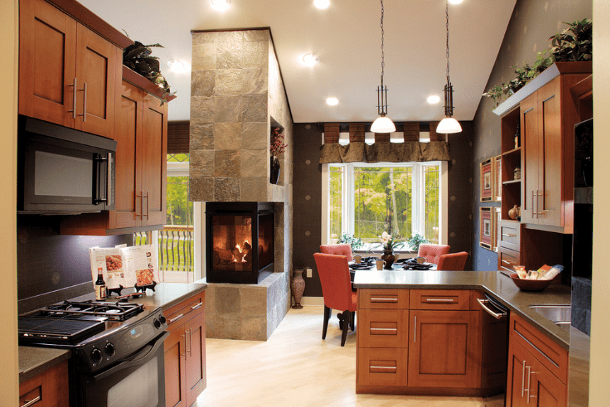 50 Kitchens With Fireplaces Photos Contemporary Kitchen Design