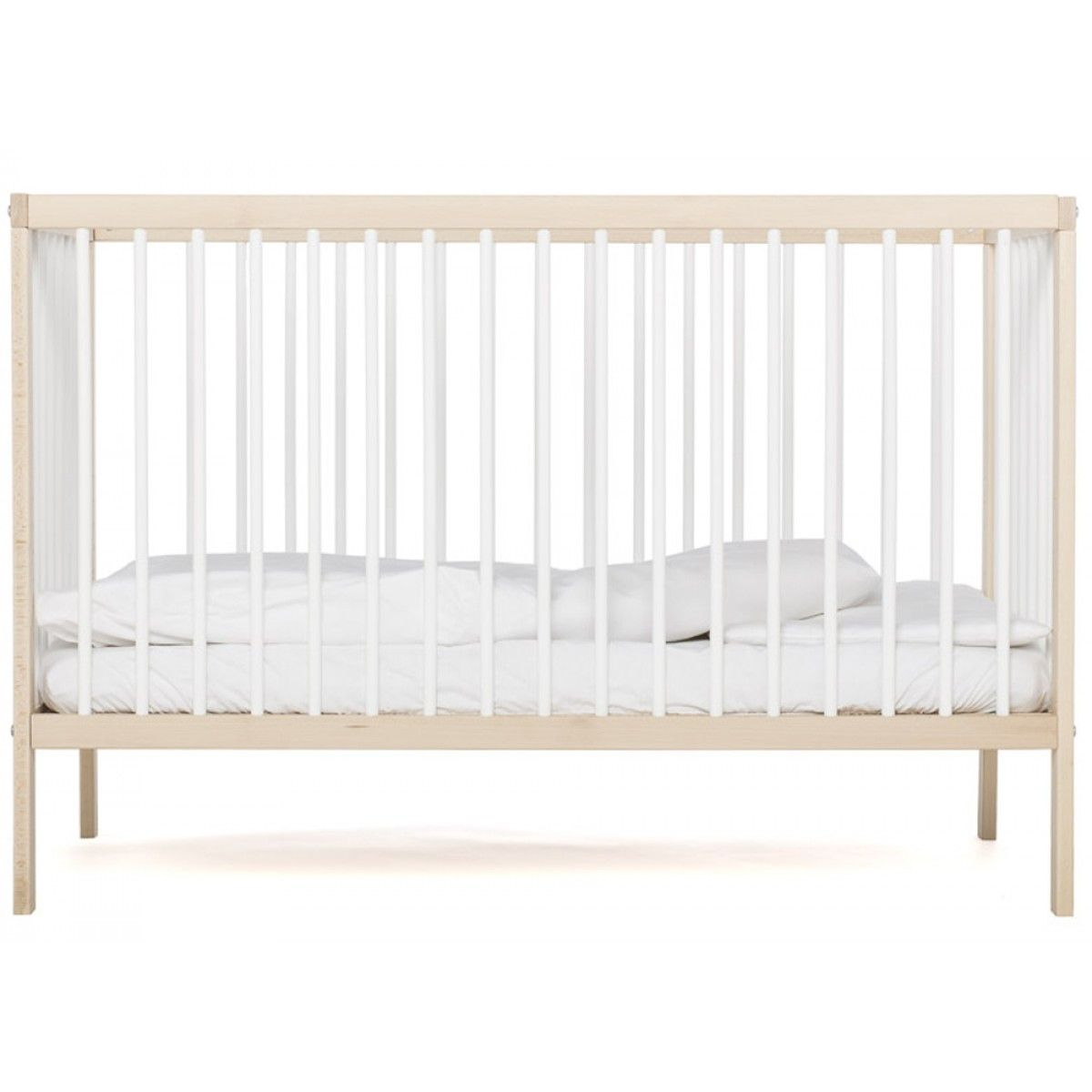 mokee mini cot in white beech colour a suitable from birth up