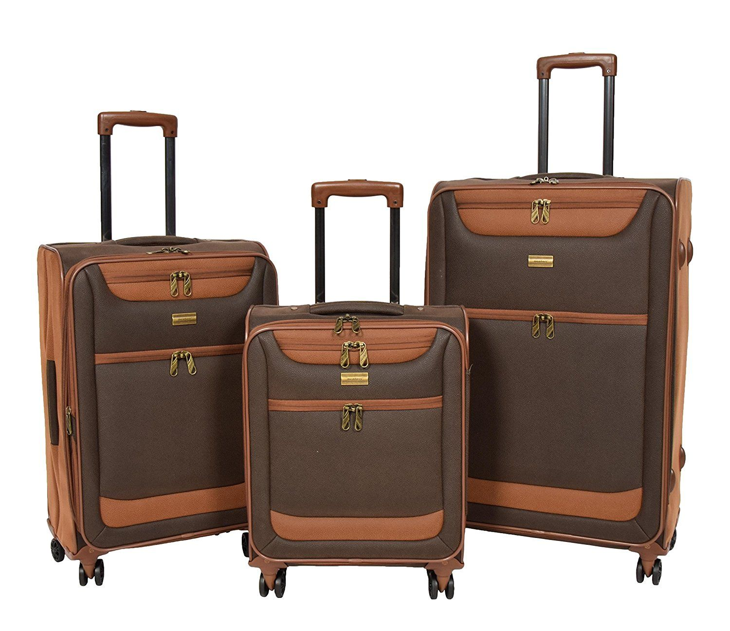 Members Boston léger imitation daim QUATRE ROUES tournantes baggage - Marron, Medium - 67 x 42 x 28/31 cm - 3.4 kg