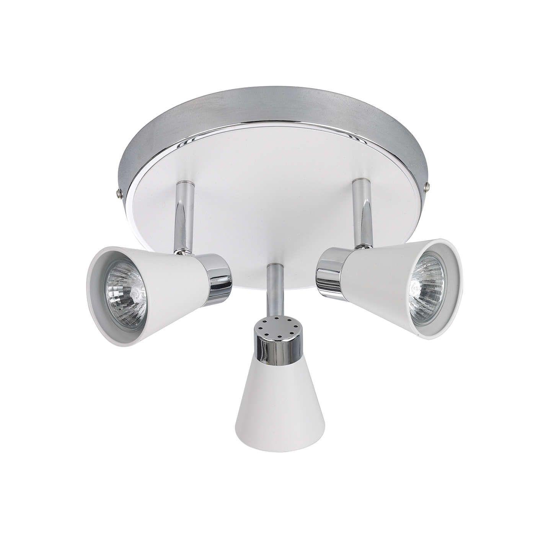 John Lewis Partners Logan Gu10 Led 3 Spotlight Ceiling Plate White Modern Lighting Design Flush Ceiling Lights Spotlight Bulbs