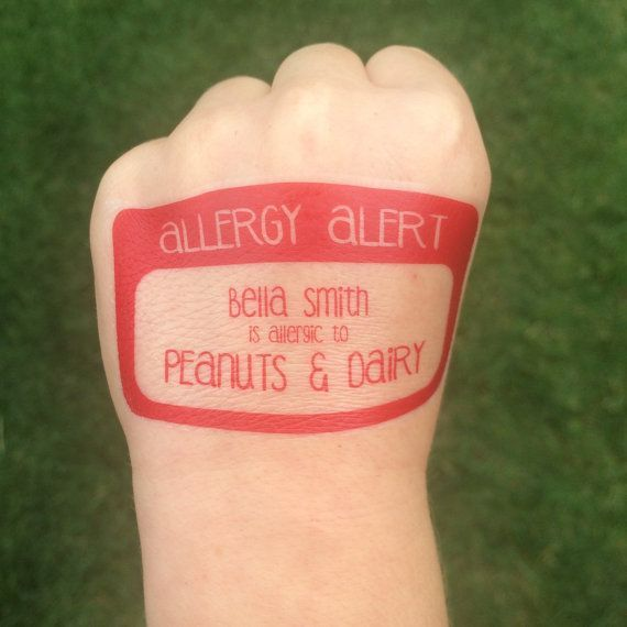 Henna Tattoo And Nut Allergy: Allergy Tattoo, Alert, Allergy Tattoo, Safety ID, STOP