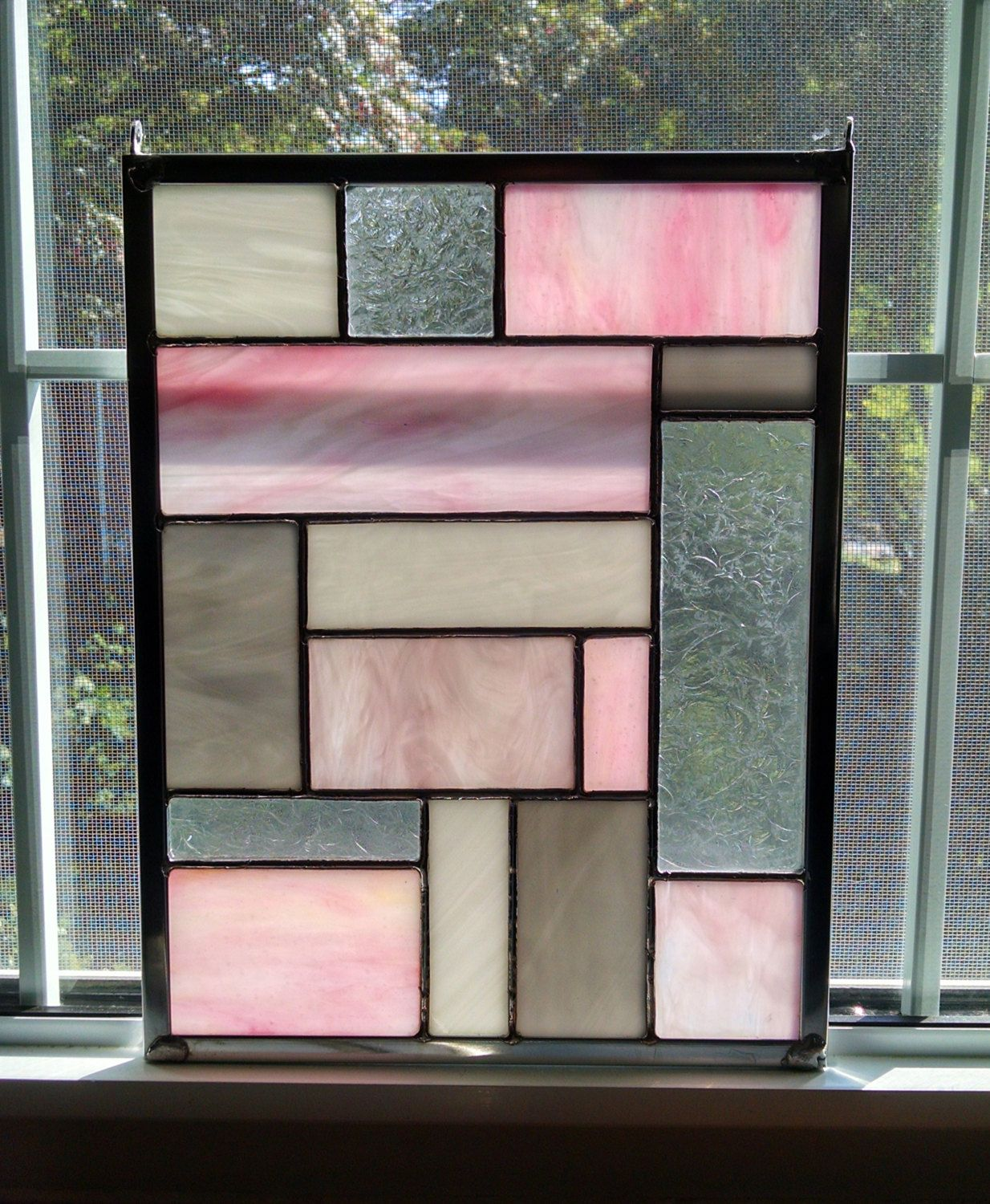 pink geometric stained glass window panel - modern - privacy